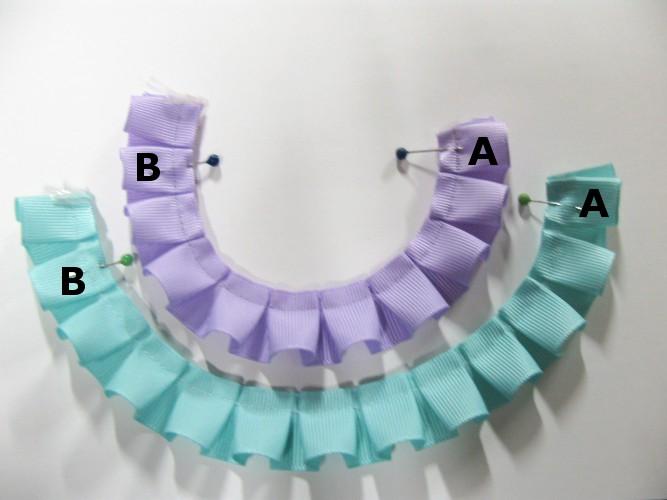 AをBに重ね縫付けます。 Overlap A on B, sew on.(実際は同じ色です。)