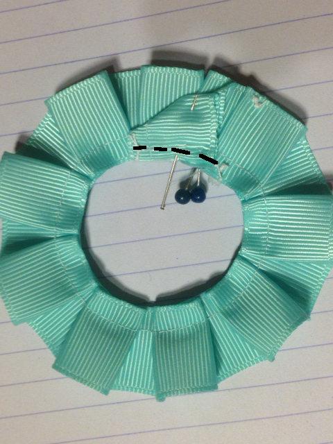 余りを裏側で折り返し、縫いつけて固定。 Fold the rest,secure on the other side.